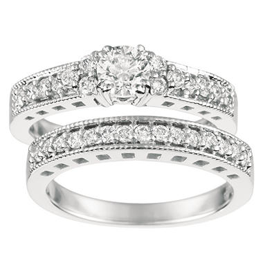 1.10 ct. t.w. Round-Cut Diamond Bridal Set 14K White Gold (I, I1)