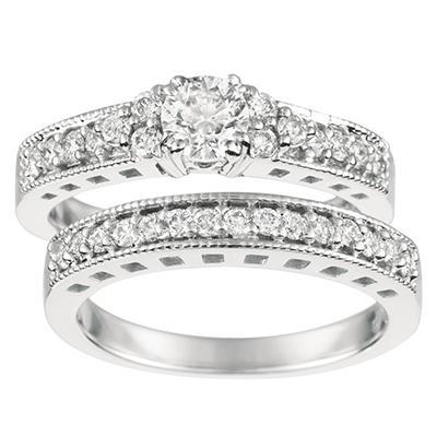 1.10 ct. t.w. Round-Cut Diamond Bridal Set 14K White Gold (I, I1)