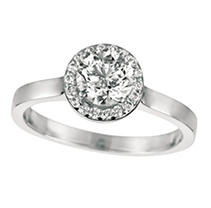 Click here for 0.80 ct. t.w. Round-Cut Diamond Halo Ring 18K Whit... prices