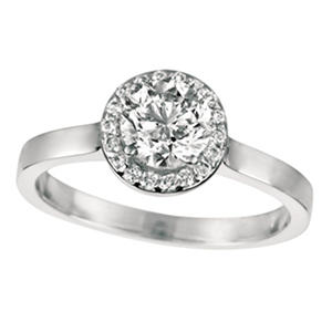 0.80 ct. t.w. Round-Cut Diamond Halo Ring 18K White Gold (I, VS2)