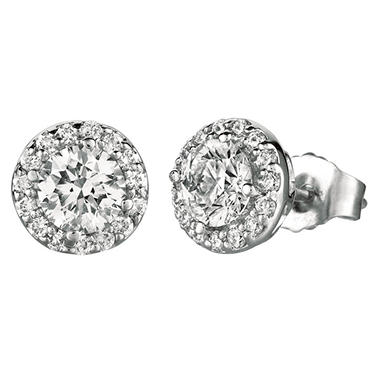 0.80 ct. t.w.. Round-Cut Diamond Halo Earrings 18K White Gold (I, VS2)