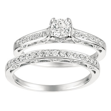 0.70 ct. t.w. Round-Cut Diamond Bridal Set 14K White Gold (I, I1)