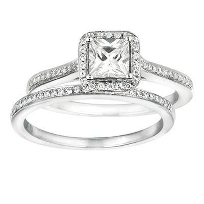 0.80 ct. t.w. Princess-Cut Diamond Bridal Set 14K White Gold (I, I1)