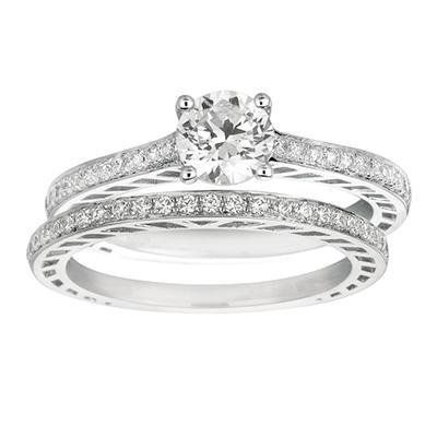 0.85 ct. t.w. Round-Cut Diamond Bridal Set 14k White Gold (I, I1)