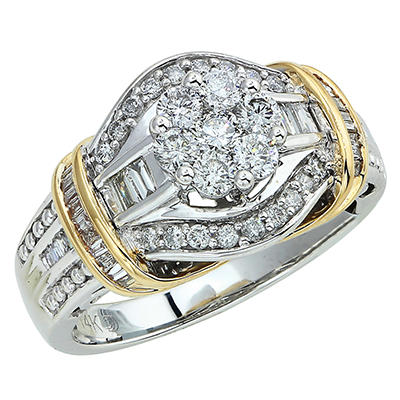 0.90 ct. t.w. Round and Baguette Diamond Ring in 14k Two-Tone Gold (I, I1)