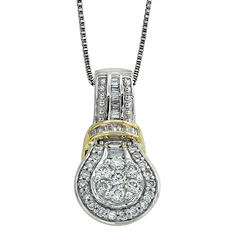 0.60 ct. t.w. Round and Baguette Diamond Pendant in 14k Two-Tone Gold (I, I1)