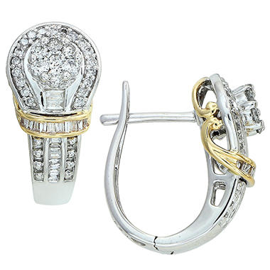 0.60 ct. t.w. Round and Baguette Diamond Earrings in 14k Two-Tone Gold (I, I1)