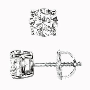.50 ct. Round-Cut Diamond Stud Earrings (I, VS2)