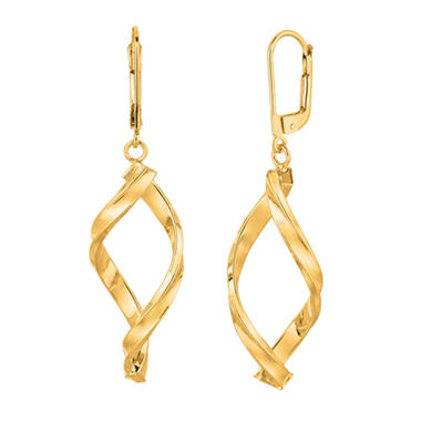 14k Yellow Gold Dangle Drop Free Form Earrings