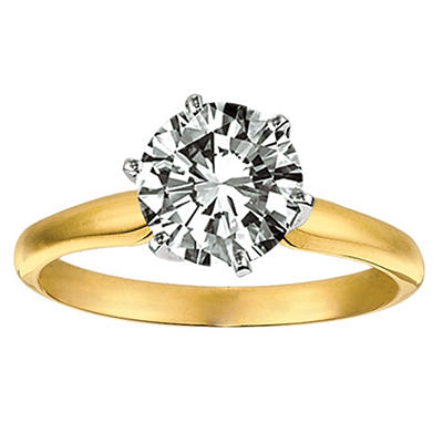1.00 CT. Round Diamond Solitaire Ring in 14K Yellow Gold (I, VS2)