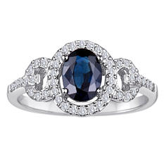 1.00 CT. Sapphire and Diamond Ring in 14K White Gold (I, I1)
