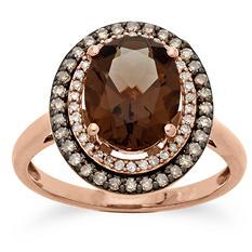 1.98 ct. Smokey Quartz and 0.30 CT. T.W. Diamond Ring in 14K Pink Gold