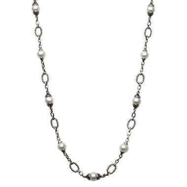 Freshwater Pearl Link Necklace in Sterling Silver - 24