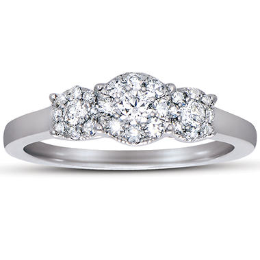 0.50 CT TW Unity Diamond 3-Stone Bridal Ring in 14K white gold (I, I1)