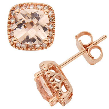 1 6 Ct T W Morganite Stud Earrings In 14k Rose Gold