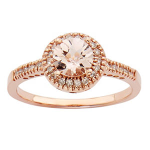 .65 CT. T.W. Morganite Fashion Rings in 14K Rose Gold