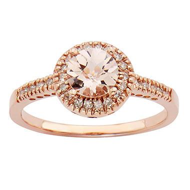 .65 CT. T.W. Morganite Fashion Rings in 14K Rose Gold