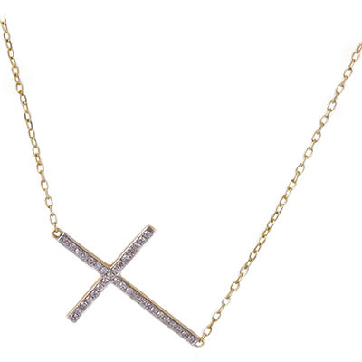 0.18 CT. T.W. Diamond Sideways Cross Necklace in 14K Yellow Gold