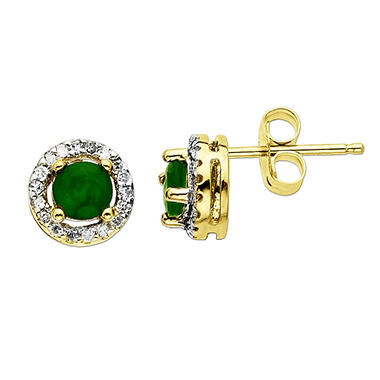 .375 ct. t.w. Emerald with Diamond Accent Stud Earrings