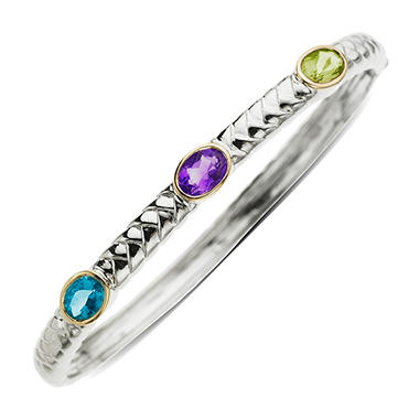 Peridot, Amethyst and Licensed Blue Topaz Bangle