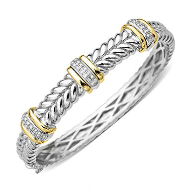 .25 ct. t.w. Diamond, Silver and Gold Bracelet (H-I, I1)