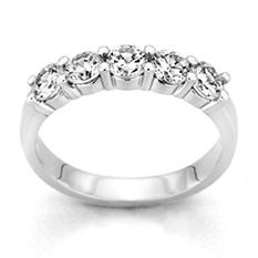 0.25 ct. t.w. 5-Stone Round Diamond Band in 14k White Gold (H-I, I1)