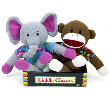 2 pk. Cuddly Classic Sock Animals - Elephant and Monkey