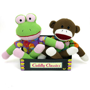2 pk. Cuddly Classic Sock Animals - Frog and Monkey