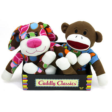2 pk. Cuddly Classic Sock Animals - Dog and Monkey