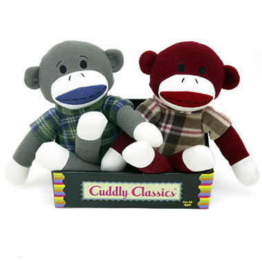 2 pk. Cuddly Classic Sock Animals - Monkeys