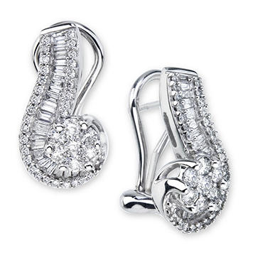 0.98 CT. T.W. Diamond Swirl Earrings in 14K White Gold (I, I1)