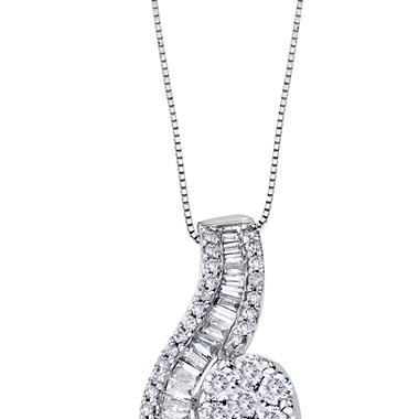 0.98 CT. T.W. Diamond Swirl Pendant in 14K White Gold (I, I1)
