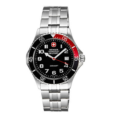 Wenger Swiss Military Alpine Diver Watch - Black Dial, Black & Red Bezel Bracelet