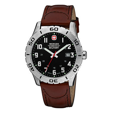 Wenger Swiss Military Grenadier Watch - Black Dial Brown Leather Strap