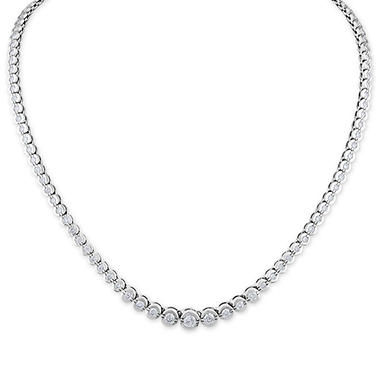 6.00 CT. T.W. Diamond Riviera Bezel Necklace in 14K White Gold (H-I, I1)