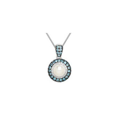 8mm Pearl Pendant with Blue and White Topaz in Sterling Silver