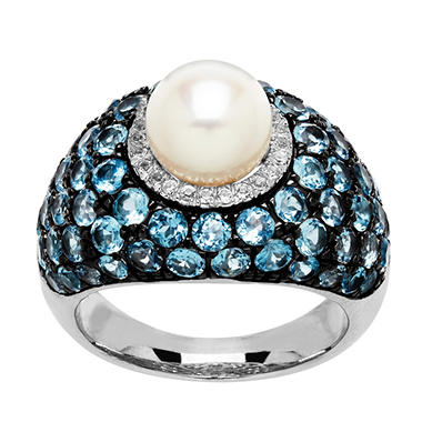 8mm Pearl Ring with Blue and White Topaz in Sterling Silver