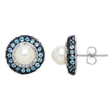 7mm Pearl Earrings with Blue and White Topaz in Sterling Silver
