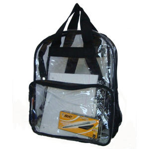 "HV 17"" Backpacks - Clear with Black Trim - 40 Pack"