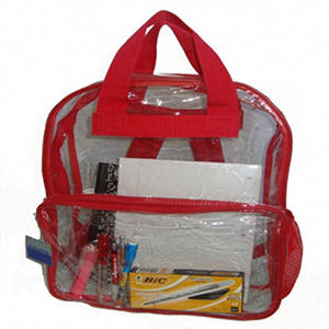 "HV 17"" Backpacks - Clear with Red Trim - 40 ct."