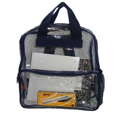 "HV 17"" Backpacks - Clear with Navy Trim - 40 ct."