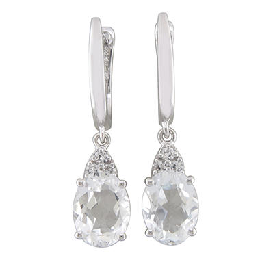 2.92 CT. T.W. White Topaz and Lab Created White Sapphire Earrings in 14K White Gold