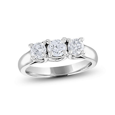 .96 CT. T.W. Round Diamond 3-Stone Ring in 14K White or Yellow Gold (I, I1)