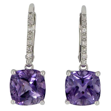 3.5 CT. T.W. Amethyst and Diamond Accent Earrings in 14K White Gold