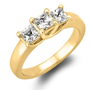 .96 CT. T.W. Princess-cut Diamond 3-Stone Ring in 14K White or Yellow Gold (I, I1)