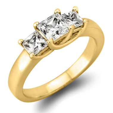 1.45 CT. TW. Princess-cut Diamond 3-Stone Ring in 14K White or Yellow Gold (I, I1)