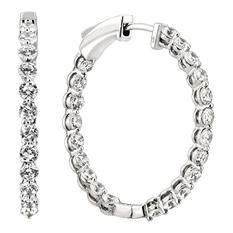 3.45 CT. TW. Diamond Hoop Earrings in 14K White Gold (H-I, I1)
