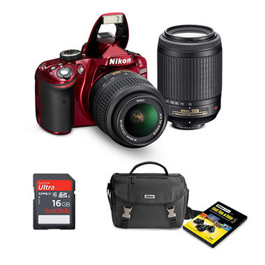 *$649 after $200 Tech Savings* Nikon D3200 24.2MP Red DSLR Bundle with 18-55mm VR Lens, 55-200mm VR Lens, Bag, and 16GB SDHC Card