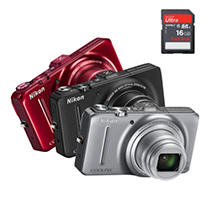 Nikon Coolpix S9300 16MP Digital Camera with 18x Optical Zoom and 16GB SDHC Card