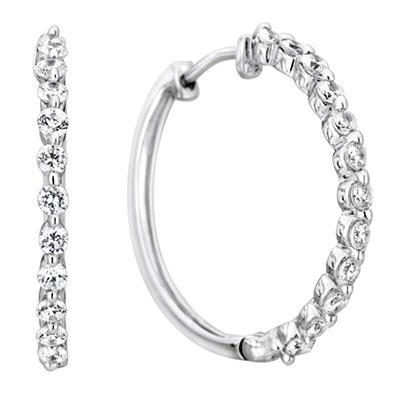 .23 CT. TW. Diamond Hoop Earrings in 14K White Gold (H-I, I1)